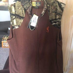 Browning Mens Brown Camo Hunting Fleece Vest